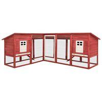 vidaXL Cușcă iepuri exterior, spațiu de joacă, roșu/alb, lemn de brad