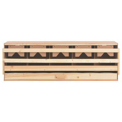 vidaXL Cuibar găini cu 5 compartimente, 117x33x38 cm, lemn masiv pin