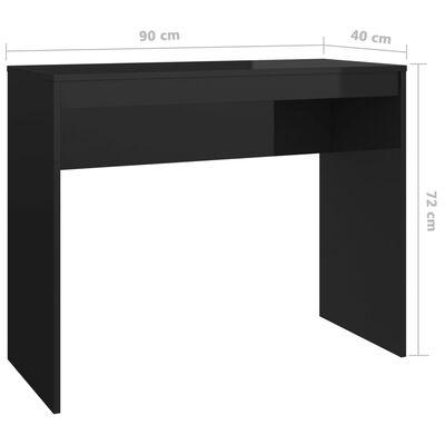 vidaXL Birou, negru foarte lucios, 90 x 40 x 72 cm, PAL
