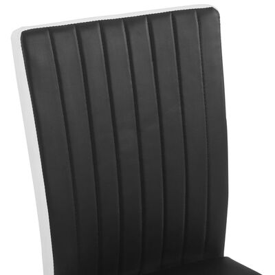 vidaXL Scaune de bucătărie consolă, 4 buc., negru, piele ecologică