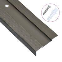 vidaXL Profile trepte în formă de L, 15 buc., maro, 100 cm, aluminiu
