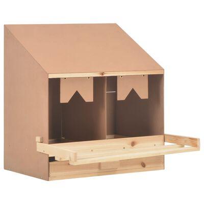vidaXL Cuibar găini cu 2 compartimente, 63x40x65 cm, lemn masiv pin