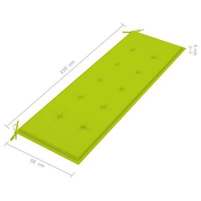 vidaXL Bancă grădină cu pernă verde crud, 150 cm, lemn masiv tec