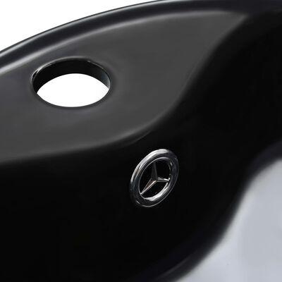 vidaXL Chiuvetă cu preaplin, negru, 36x13 cm, ceramică