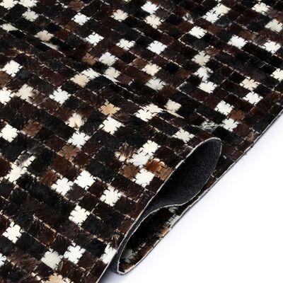 vidaXL Covor piele naturală, mozaic, 160x230 cm, pătrate, negru/alb