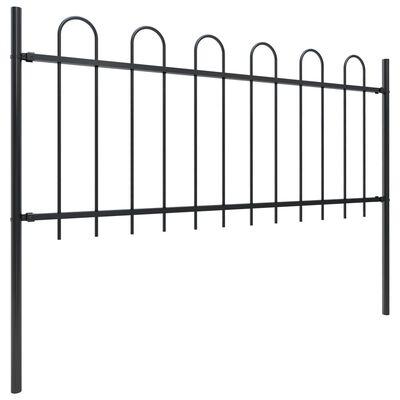 vidaXL Gard de grădină cu vârf curbat, negru, 5,1 x 0,8 m, oțel