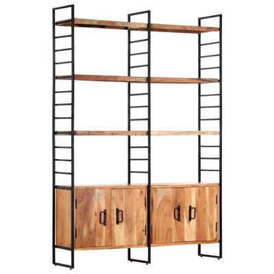 vidaXL Bibliotecă cu 4 rafturi, 124 x 30 x 180 cm, lemn masiv de acacia