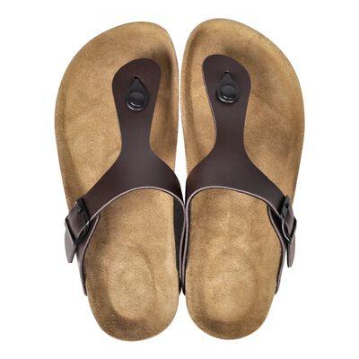 vidaXL Sandale femei din plută bio, model flip flop, maro, mărime 38