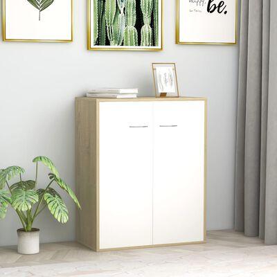 vidaXL Servantă, alb și stejar Sonoma, 60 x 30 x 75 cm, PAL