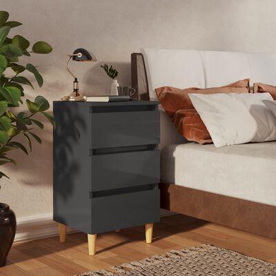 vidaXL Noptiere & picioare lemn, 2 buc., gri extralucios, 40x35x69 cm