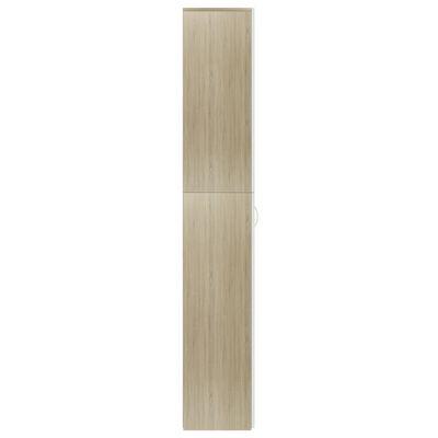 vidaXL Dulap de birou, alb și stejar Sonoma, 60x32x190 cm, PAL