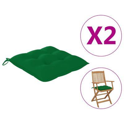 vidaXL Perne de scaun, 2 buc., verde, 40 x 40 x 7 cm, textil