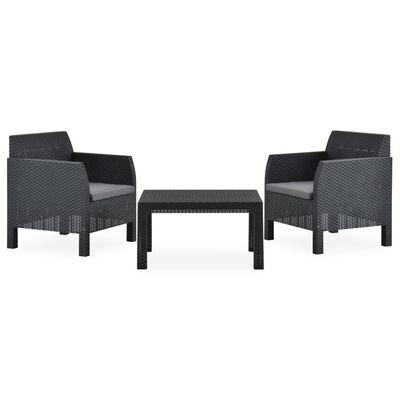 vidaXL Set mobilier de grădină cu perne, 3 piese, antracit, PP