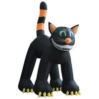vidaXL Pisică neagră gonflabilă de Halloween cu LED XXL 6 m