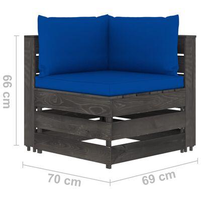 vidaXL Set mobilier grădină cu perne, 8 piese, gri, lemn pin tratat