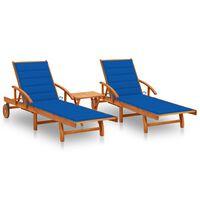vidaXL Șezlonguri cu masă și perne, 2 buc., lemn masiv de acacia