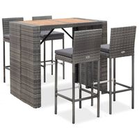 vidaXL Set mobilier bar exterior 9 piese gri poliratan și lemn acacia