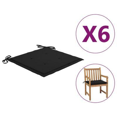 vidaXL Perne scaun de grădină, 6 buc., negru, 50x50x4 cm, textil