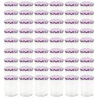 vidaXL Borcane sticlă pentru gem capace alb & violet 48 buc. 400 ml