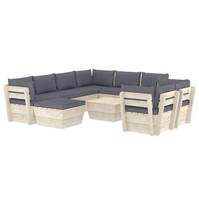 vidaXL Set mobilier grădină din paleți cu perne, 10 piese, lemn molid