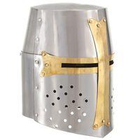 vidaXL Coif de cavaler medieval antichizat joc rol, argintiu, oțel