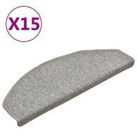 vidaXL Covorașe pentru trepte scară, 15 buc., gri deschis, 65x24x4 cm