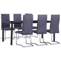 vidaXL Set mobilier bucătărie, 7 piese, gri, piele întoarsă ecologică