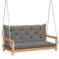 vidaXL Bancă balansoar cu pernă gri, 120 cm, lemn masiv de tec