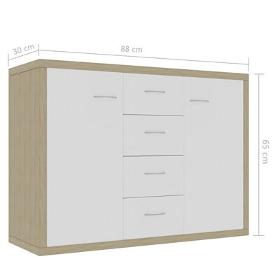 vidaXL Servantă, alb și stejar Sonoma, 88 x 30 x 65 cm, PAL