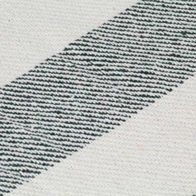 vidaXL Pătură decorativă, verde închis, 125 x 150 cm, bumbac, dungi