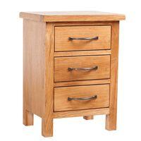 vidaXL Noptieră cu 3 sertare, 40 x 30 x 54 cm, lemn masiv de stejar