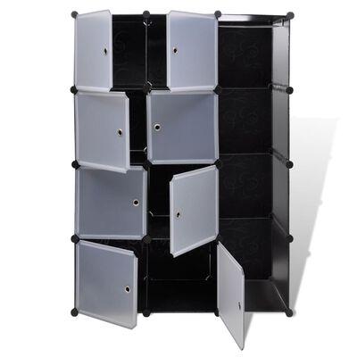 vidaXL Dulap modular cu 9 compartimente, 37x115x150 cm, negru și alb