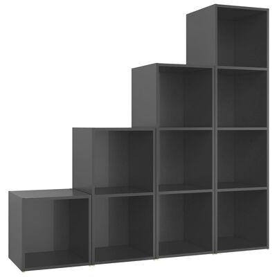 vidaXL Set de dulapuri TV, 4 piese, gri extralucios, PAL