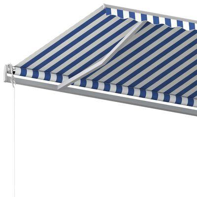 vidaXL Copertină retractabilă manual cu stâlpi, albastru/alb, 6x3,5 m