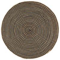 vidaXL Covor lucrat manual cu model spiralat, negru, 120 cm, iută