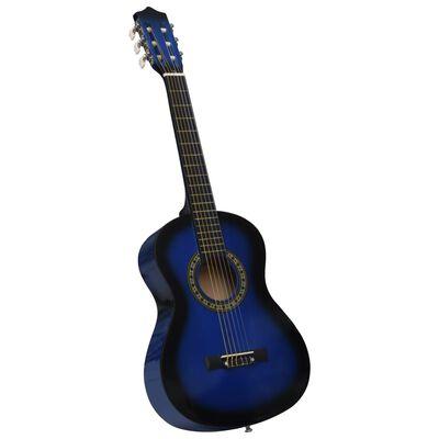 """vidaXL Set de chitară clasică începători, 8 piese, albastru, 1/2 34"""""""