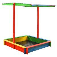 vidaXL Cutie de nisip cu acoperiș ajustabil multicolor lemn brad UV50