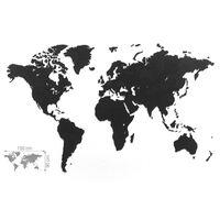 MiMi Innovations Decor perete harta lumii Luxury negru 150x90cm lemn