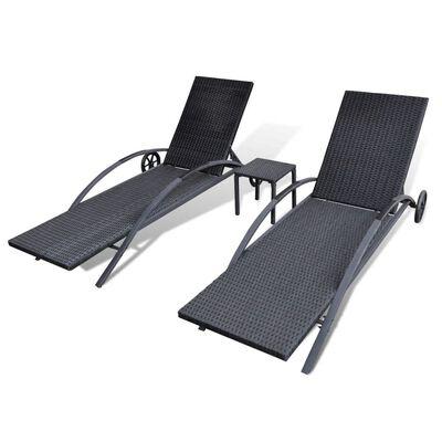 vidaXL Șezlonguri de plajă cu masă, negru, poliratan