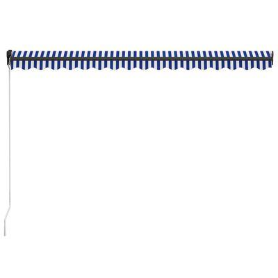 vidaXL Copertină retractabilă manual, albastru și alb, 450x300 cm