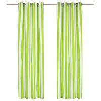 vidaXL Perdele cu inele metalice, 2 buc., verde, 140 x 225 cm, textil