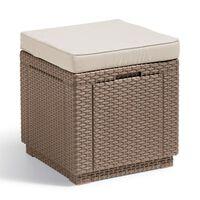 Allibert Taburet tip cub cu spațiu de depozitare, cappuccino, 228096