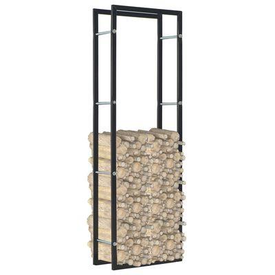 vidaXL Rastel pentru lemne de foc, negru, 50x20x150 cm, oțel