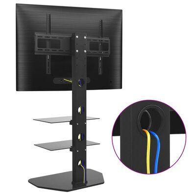 vidaXL Suport TV de podea pivotant, VESA 600x400 mm, cu 2 rafturi