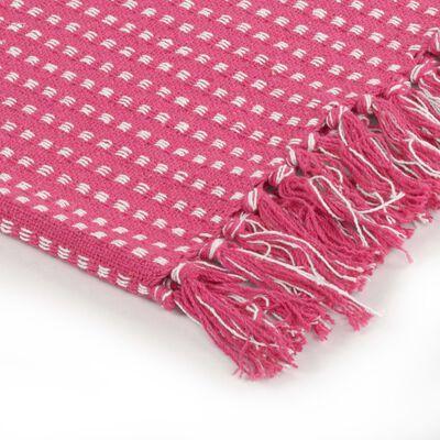 vidaXL Pătură decorativă cu pătrățele, bumbac, 125 x 150 cm, roz