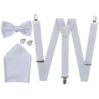 Set accesorii costum seară/frac bărbați bretele & papion, alb