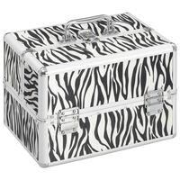 vidaXL Geantă de cosmetice, dungi zebră, 22 x 30 x 21 cm, aluminiu