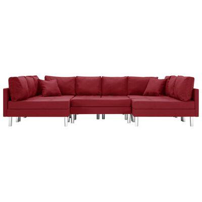 vidaXL Canapea modulară, roșu vin, material textil