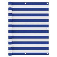 vidaXL Paravan de balcon, alb și albastru, 120x300 cm, țesătură oxford