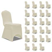 vidaXL Huse elastice pentru scaun, 24 buc., crem